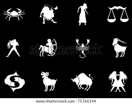 Set of zodiac signs - stock vector