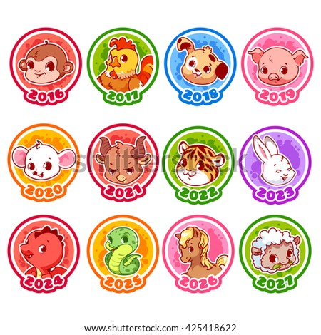 Set of zodiac signs in cartoon style. Chinese zodiac. Vector illustration isolated on a white background. - stock vector