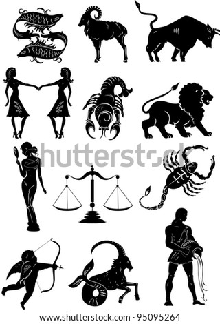 Set of Zodiac signs silhouettes - stock vector
