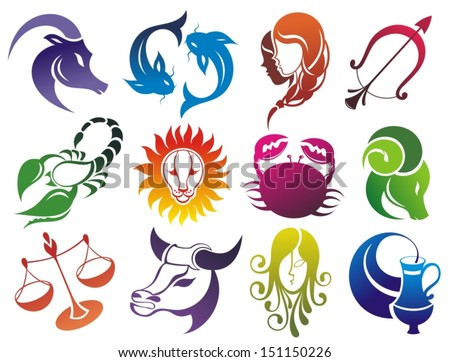 Set of Zodiac symbols. Isolated on white - stock vector