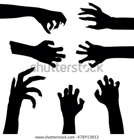 Set of zombie hands isolated on white background, vector illustration