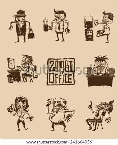 Set of Zombies in office, vector - stock vector