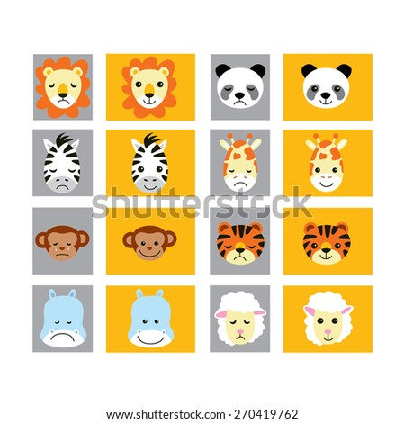 Set of ZOO animals. Emotions. Sleeping. Funny. For your design.