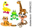 set of zoo animals.vector illustration. cute characters.isolated on white background - stock vector