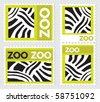 Set of zoo stamps with zebra skin texture, vector - stock vector