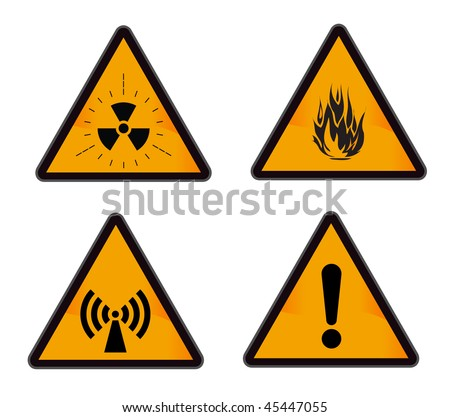 set ofindustrial warning signs (radiation, alarm, flame, wi-fi) - stock vector