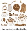 set on the coffee theme - stock vector