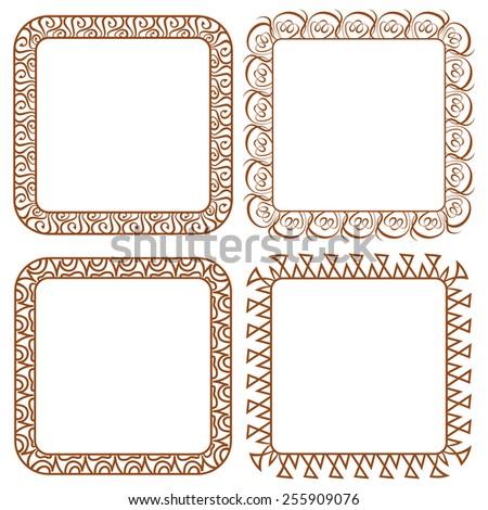 Set openwork vector frame. vignette for design - stock vector