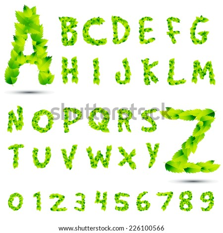 set or collection of green leafs, eco font isolated on white background for nature, summer, spring, alphabet, ecology, environment, plant, winter, ecological,illustration design  - stock vector