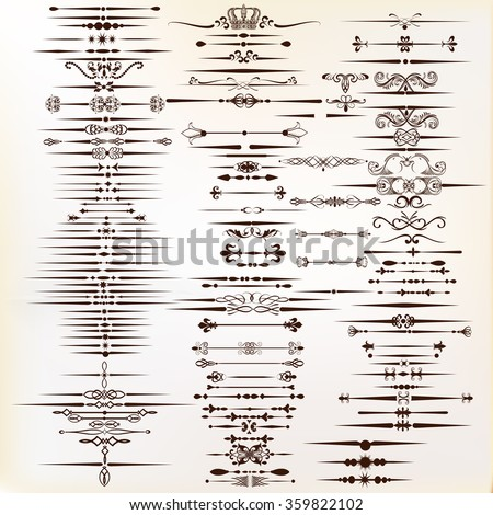 Set or collection of vector calligraphic elements and page decorations - stock vector