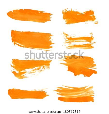 Set orange gouache realistic thick paint strokes - stock vector
