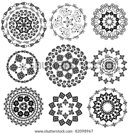 Set Oriental Arabesque - stock vector