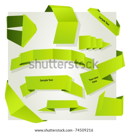 Set origami ribbons and banner. Vector. - stock vector