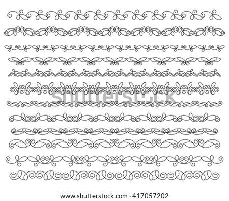 Set ornamental borders. Vector decorative elements. - stock vector
