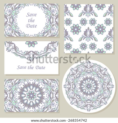Set ornate element for design, place for text.Ornament vintage illustration for wedding invitations, greeting cards.
