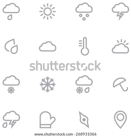 Set outline weather icons for web and mobile applications. Neutral gray color is ideal for any design. - stock vector