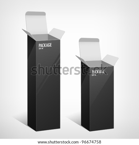 Set package long black box design, vector illustration - stock vector