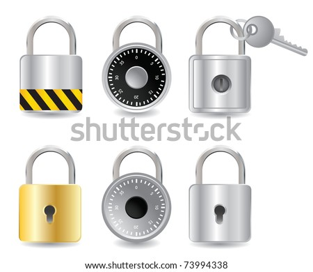 set padlock - stock vector