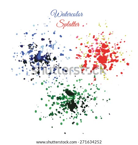 Set Paint Splash with Grunge Texture, watercolor hand drawing - stock vector