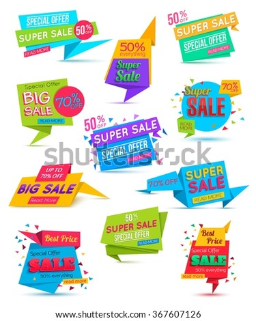 Set Paper Banner. Paper Banner Template. Super Sale Special Offer banner on colorful background.  Web banner. Banner vector. Big Sale banner. Web banner template. Shopping Banner. 50% off. 70%. - stock vector