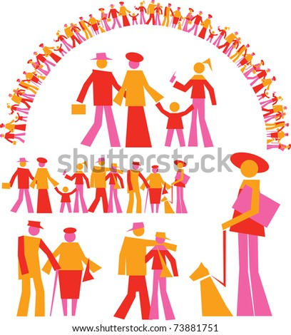 set people - stock vector