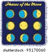 set phases of the moon - stock