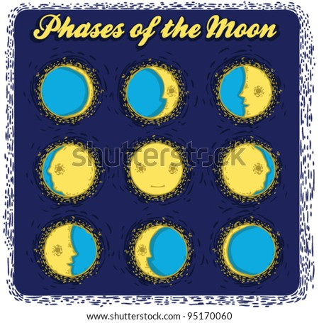 set phases of the moon - stock vector