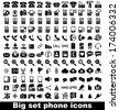 Set phone icon on white background. Vector. - stock photo