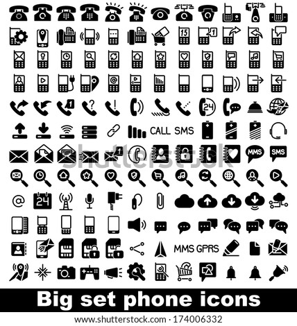 Set phone icon on white background. Vector. - stock vector