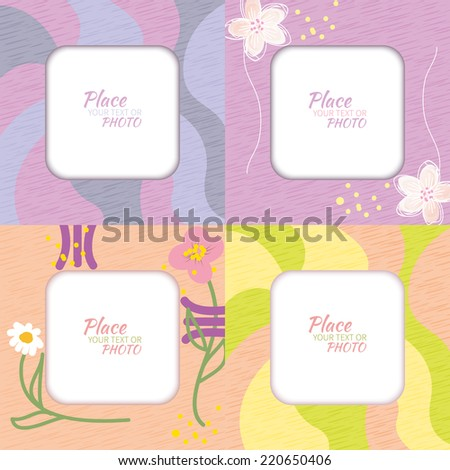 Set photo frame in primitive style multicolor with cartoon hand drawing - stock vector