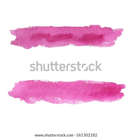 Set pink watercolor blobs, isolated on white background. Shape design blank watercolor colored rounded shapes web buttons on white background. Divorces paint. Vector illustration.