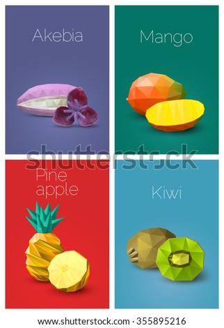 Set polygonal fruit - akebia, mango, pineapple, kiwi. Vector illustration - stock vector