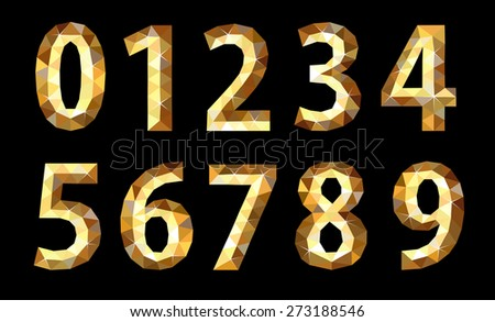 set polygonal low poly numbers gold glitter expensive - stock vector