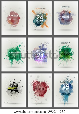 Set poster Grunge background vector. Grunge print for t-shirt. Abstract dirt backgrounds texture. Grunge banner with an inky dribble strip with copy space. Abstract background for party - stock vector