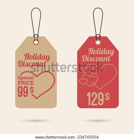 Set price tag with ribbons and labels. special price, holiday discount. Happy Valentine's Day. heart - stock vector
