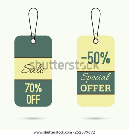 Set price tag with ribbons and labels. special price, offer, off.  holiday discount. - stock vector