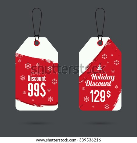 Set price tag with smear watercolor painting. special price, holiday discount and. Christmas tree, Christmas discounts. red - stock vector