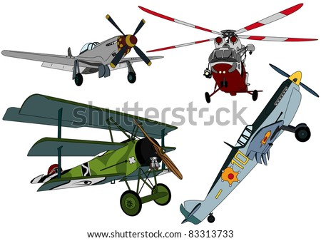 Set propeller aircraft and helicopters - stock vector