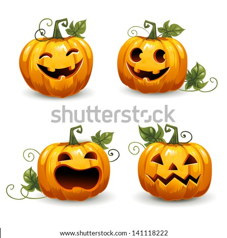 Set pumpkins for Halloween. Set of smiley faces. - stock vector