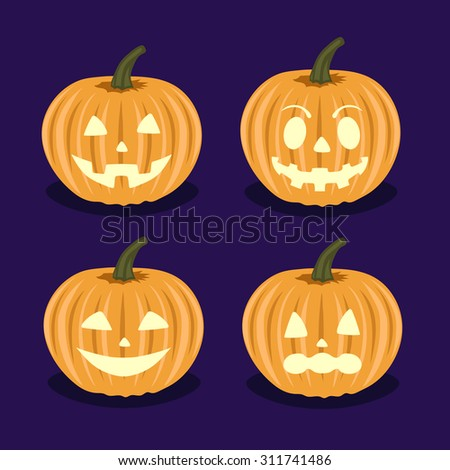 Set pumpkins with different emotions on Halloween. - stock vector
