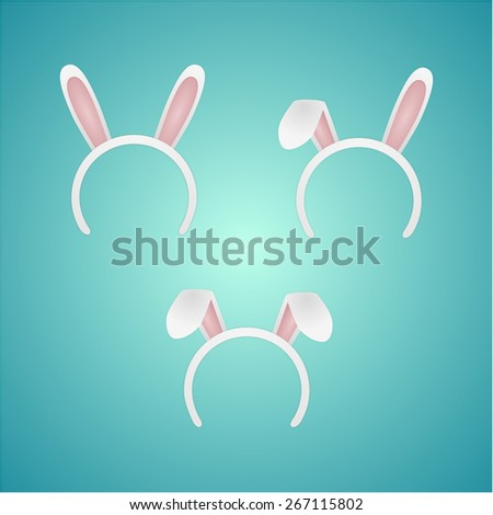 set rabbit ears isolated. vector illustration - stock vector