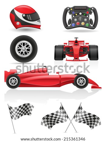 set racing icons vector illustration EPS 10 isolated on white background - stock vector