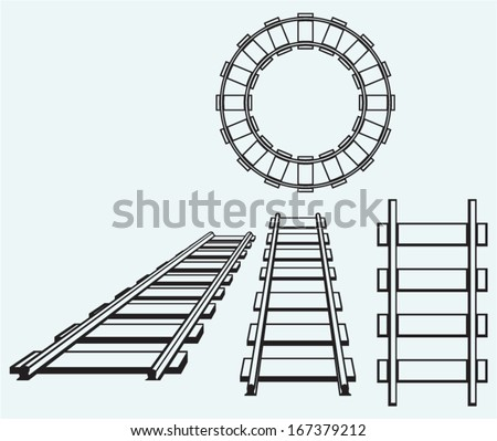 Set railroad isolated on blue background - stock vector
