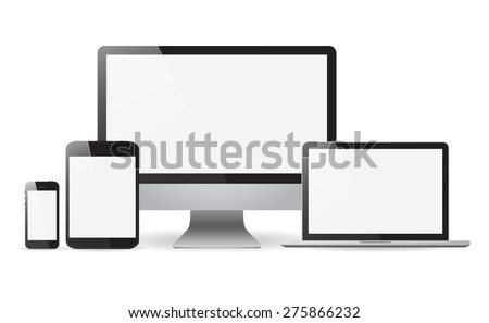Set realistic Monitors laptop tablet and phone vector illustrati - stock vector