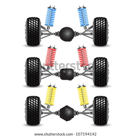 Set rear suspension car with different gearing. Vector Illustration - stock vector