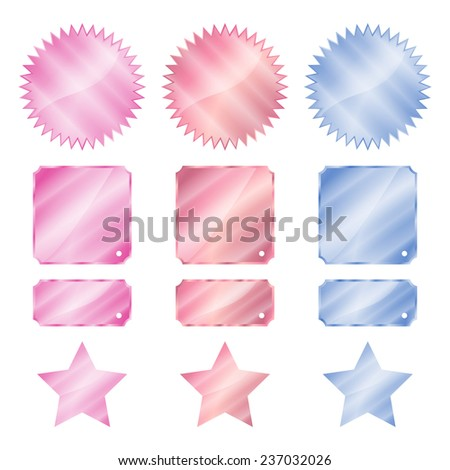 set red blue and pink glossy vector stickers in the shape of a circle with a square rectangle teeth and stars - stock vector