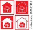 set red icon with family and gift box - stock vector
