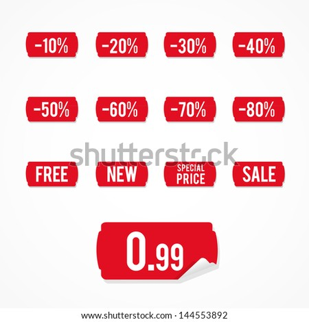 Set: red sale labels - stock vector
