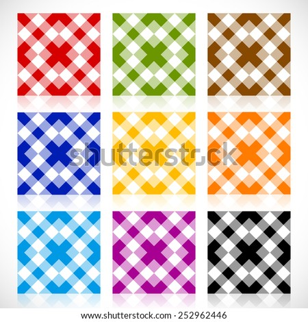 Set 9 repeatable geometric tile with different colors. Seamless pattern, seamless background - stock vector