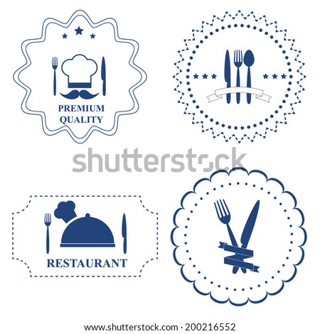 Set restaurant labels and kitchen cutlery on white background. Vector illustration - stock vector